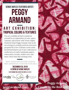 Peggy Armand Art Exhibition: TROPICAL COLORS AND TEXTURES @ Venue Naples | Naples | Florida | United States